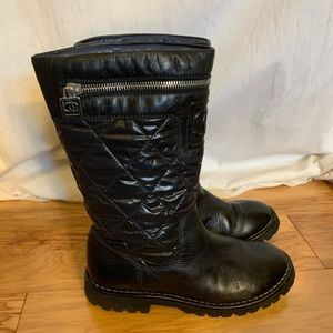Chanel black quilted pull up mid calf boots. 36